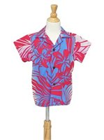 [Exclusive] Anuenue Hibiscus & Plumeria Fuchsia & Cream Poly Cotton Boys Hawaiian Shirt