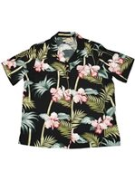 Paradise Found #45 Orchid Bamboo Black Rayon Women's Hawaiian Shirt