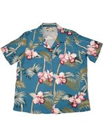 Paradise Found Orchid Bamboo Blue Rayon Women's Hawaiian Shirt