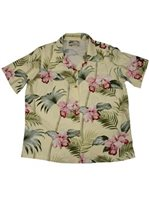 Paradise Found #45 Orchid Bamboo Yellow Rayon Women's Hawaiian Shirt