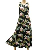 Paradise Found Orchid Bamboo Black Rayon Hawaiian Long Dress