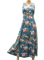 Paradise Found Orchid Bamboo Blue Rayon Hawaiian Long Dress