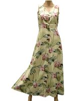 Paradise Found Orchid Bamboo  Yellow Rayon Hawaiian Long Dress
