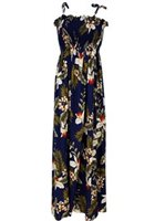 Two Palms Hawaiian Orchid Navy Summer Maxi Dress