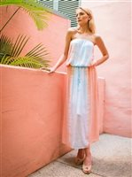 Angels by the Sea Coral Tie Dye Maxi Tube Dress