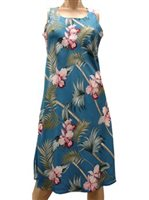 Paradise Found Orchid Bamboo Blue Rayon Hawaiian A-Line Tank Short Dress