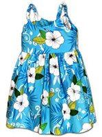 Pacific Legend Hibiscus Fern Blue Cotton Toddlers Hawaiian Bungee Dress