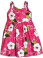Pacific Legend Hibiscus Fern Pink Cotton Toddlers Hawaiian Bungee Dress