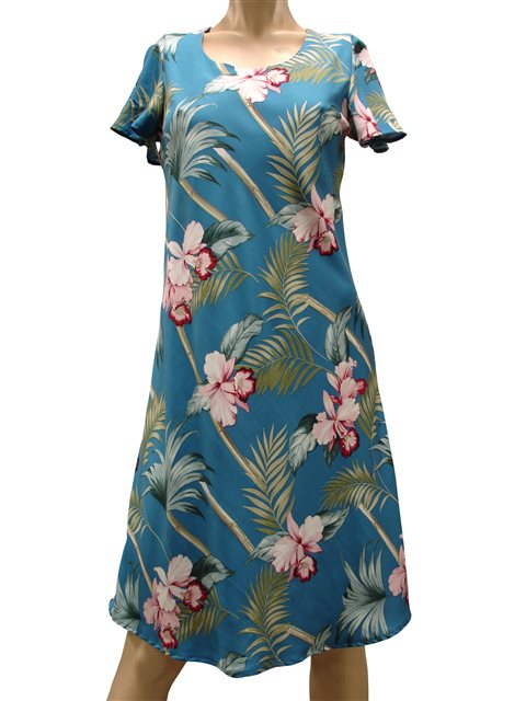 209e7a01 Paradise Found Orchid Bamboo Blue Rayon Hawaiian A-Line with sleeves ...