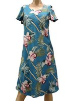 Paradise Found Orchid Bamboo Blue Rayon Hawaiian A-Line with sleeves Short Dress