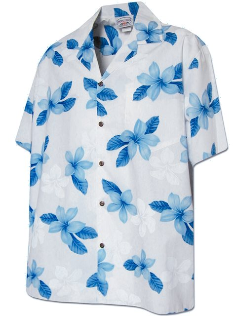a350a029 Pacific Legend Plumeria Blue Cotton Men's Hawaiian Shirt | AlohaOutlet