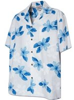 Pacific Legend Plumeria Blue Cotton Men's Hawaiian Shirt