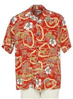 Hilo Hattie Vintage Scenic Red Rayon Men's Hawaiian Shirt