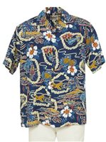 Hilo Hattie Vintage Scenic Navy Rayon Men's Hawaiian Shirt