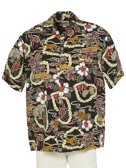 1a6609c508 Hilo Hattie Vintage Scenic Black Rayon Men's Hawaiian Shirt ...