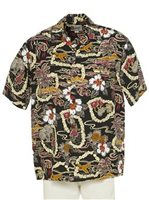 Hilo Hattie Vintage Scenic Black Rayon Men's Hawaiian Shirt
