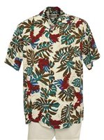Hilo Hattie Red Ginger  Cream Rayon Men's Hawaiian Shirt