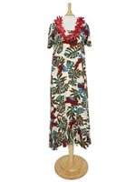 Hilo Hattie Red Ginger  Cream Rayon Hawaiian Short Sleeve Tea Dress