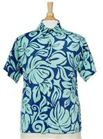 [Exclusive] Iolani Mo'orea Blue Stretch Men's Knit Hawaiian Shirt