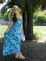 [Exclusive] Iolani Mo'orea Blue Stretch Bandeau Top Knit Maxi-Dress