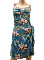 Paradise Found Orchid Bamboo Blue Rayon Hawaiian Sarong Short Dress