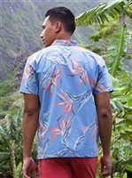 Kahala Bird of Paradise Blue Cotton Men's Hawaiian Shirt