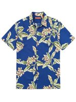 Tori Richard Lei Maker Navy Cotton Men's Hawaiian Shirt