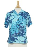 Hilo Hattie Royal Hibiscus  Navy Rayon Women's Hawaiian Shirt