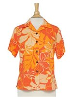 Hilo Hattie Royal Hibiscus  Orange Rayon Women's Hawaiian Shirt