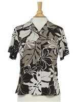 Hilo Hattie Royal Hibiscus  Black Rayon Women's Hawaiian Shirt