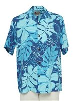 Hilo Hattie Royal Hibiscus Navy Rayon Men's Hawaiian Shirt