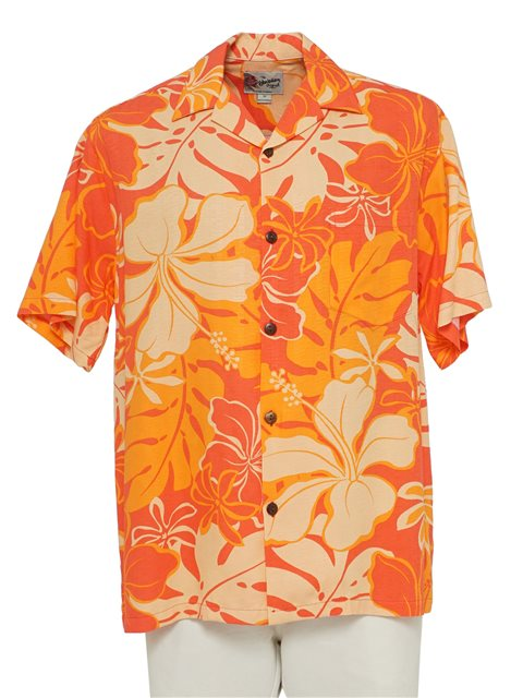 fab8d336 Hilo Hattie Royal Hibiscus Orange Rayon Men's Hawaiian Shirt ...