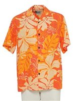 Hilo Hattie Royal Hibiscus Orange Rayon Men's Hawaiian Shirt
