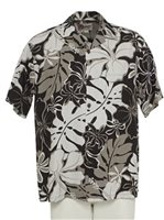 Hilo Hattie Royal Hibiscus Black Rayon Men's Hawaiian Shirt