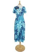 Hilo Hattie Royal Hibiscus Navy Rayon Hawaiian Short Sleeve Long Dress