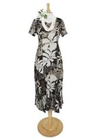 Hilo Hattie Royal Hibiscus Black Rayon Hawaiian Short Sleeve Long Dress