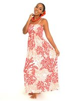 Anuenue Coral Seahorse White&Red Rayon Hawaiian Summer Maxi Dress