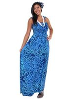 Anuenue Coral Seahorse Navy Rayon Hawaiian Summer Maxi Dress