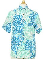 Anuenue Coral Seahorse White&Turquoise Rayon Men's Hawaiian Shirt [40% OFF]