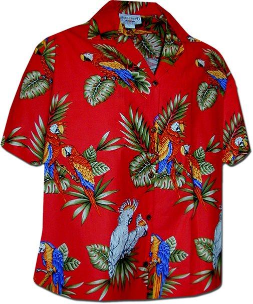 Pacific Legend Parrot Red Cotton Women's Hawaiian Shirt