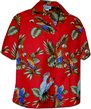 Pacific Legend Parrot  Red Cotton Women's Hawaiian Shirt