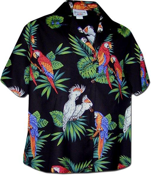 Pacific Legend Parrot Black Cotton Women s Hawaiian Shirt  acb88f46bd