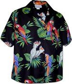 Pacific Legend Parrot  Black Cotton Women's Hawaiian Shirt