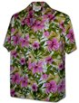 Pacific Legend Hibiscus&Leaves Pink Cotton Men's Hawaiian Shirt