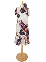 Royal Hawaiian Creations Ginger&Monstera White Rayon Hawaiian Amber Sleeve Midi Dress