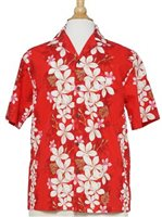 Two Palms Vintage Plumeria Red Cotton Men's Hawaiian Shirt