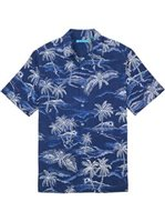 Tori Richard Hidden Cove Navy Silk Cotton Men's Hawaiian Shirt