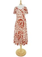 Hilo Hattie Tapa Burgundy Rayon Hawaiian Short Sleeve V-Neck Dress