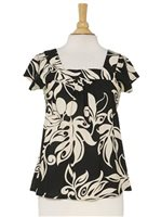 Hilo Hattie Lawai Black Rayon Hawaiian Swirl Bias Square Neck Blouse