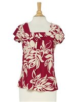 Hilo Hattie Lawai Plum Rayon Hawaiian Swirl Bias Square Neck Blouse